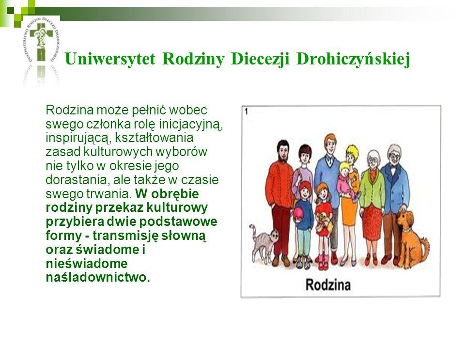 Uniwersytet Rodziny Diecezji Drohiczyńskiej Rodzina może pełnić wobec swego członka rolę inicjacyjną, inspirującą, kształtowania zasad kulturowych wyborów nie tylko w okresie jego dorastania, ale także w czasie swego trwania.