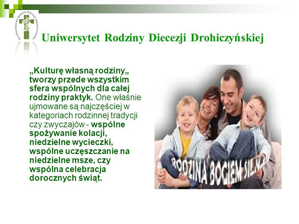 Uniwersytet Rodziny Diecezji Drohiczyńskiej Kulturę własną rodziny tworzy przede wszystkim sfera wspólnych dla całej rodziny praktyk. One właśnie ujmo