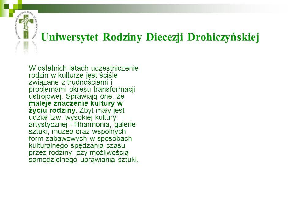 Uniwersytet Rodziny Diecezji Drohiczyńskiej W ostatnich latach uczestniczenie rodzin w kulturze jest ściśle związane z trudnościami i problemami okres