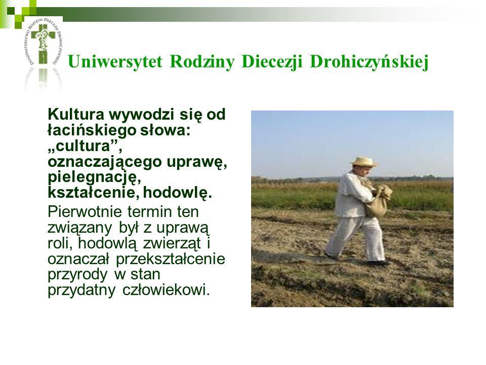 Uniwersytet Rodziny Diecezji Drohiczyńskiej Kultura wywodzi się od łacińskiego słowa: cultura, oznaczającego uprawę, pielegnację, kształcenie, hodowlę.