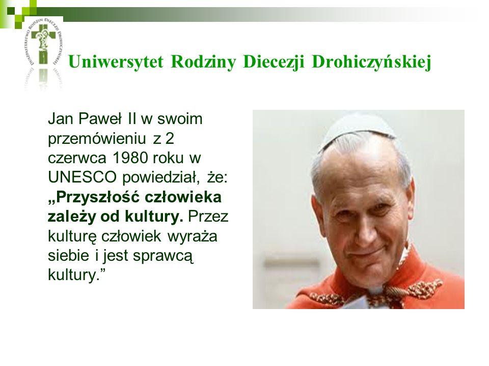 Uniwersytet Rodziny Diecezji Drohiczyńskiej Jan Paweł II w swoim przemówieniu z 2 czerwca 1980 roku w UNESCO powiedział, że: Przyszłość człowieka zale