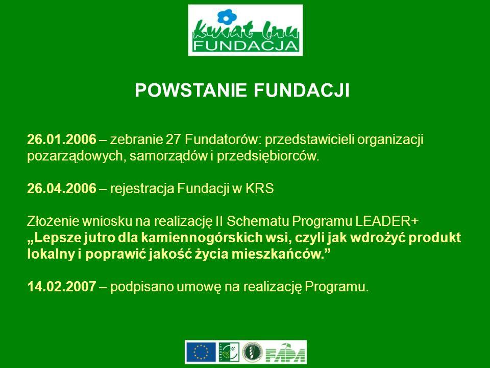POWSTANIE FUNDACJI 26.01.2006 – zebranie 27 Fundatorów: przedstawicieli organizacji pozarządowych, samorządów i przedsiębiorców.