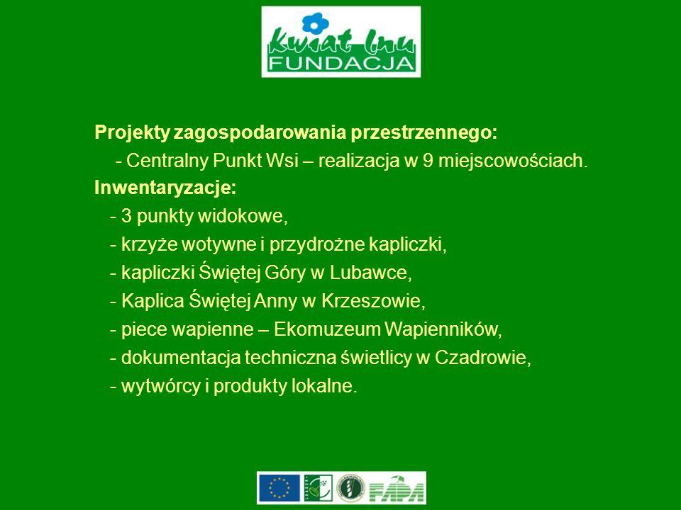 Projekty zagospodarowania przestrzennego: - Centralny Punkt Wsi – realizacja w 9 miejscowościach.