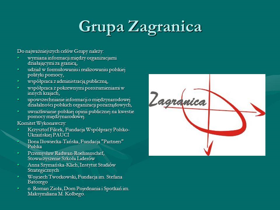 Grupa Zagranica Do najważniejszych celów Grupy należy: wymiana informacji między organizacjami działającymi za granicą,wymiana informacji między organ