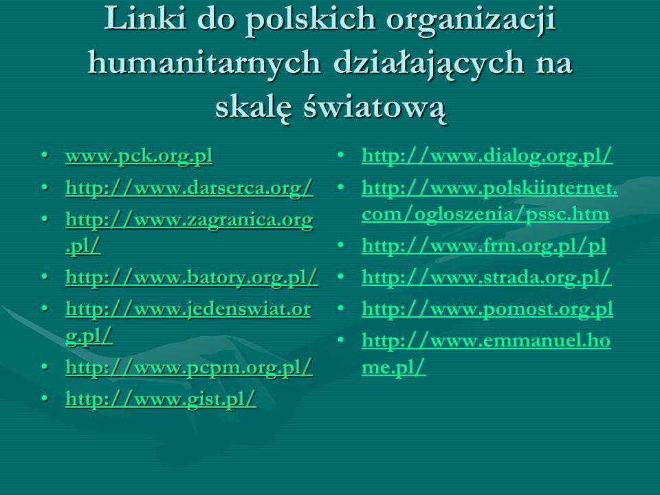 Linki do polskich organizacji humanitarnych działających na skalę światową www.pck.org.plwww.pck.org.plwww.pck.org.pl http://www.darserca.org/http://w