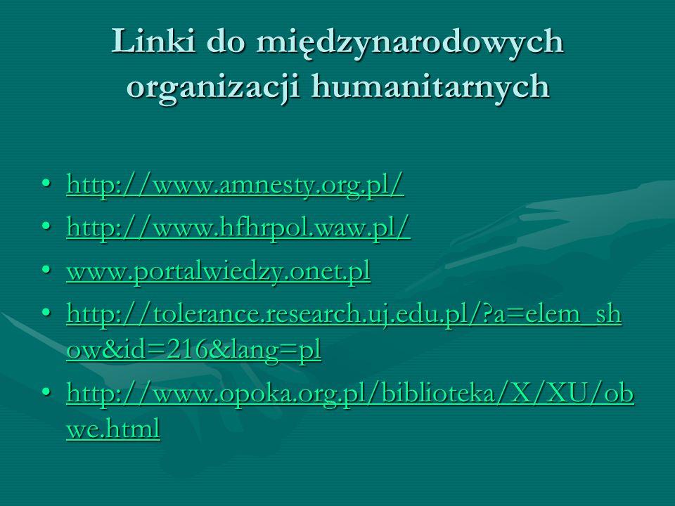 Linki do międzynarodowych organizacji humanitarnych http://www.amnesty.org.pl/http://www.amnesty.org.pl/http://www.amnesty.org.pl/ http://www.hfhrpol.