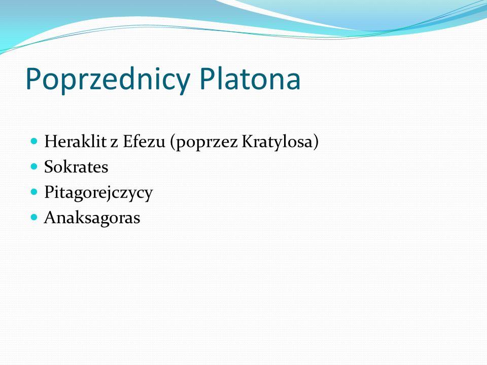 Poprzednicy Platona Heraklit z Efezu (poprzez Kratylosa) Sokrates Pitagorejczycy Anaksagoras