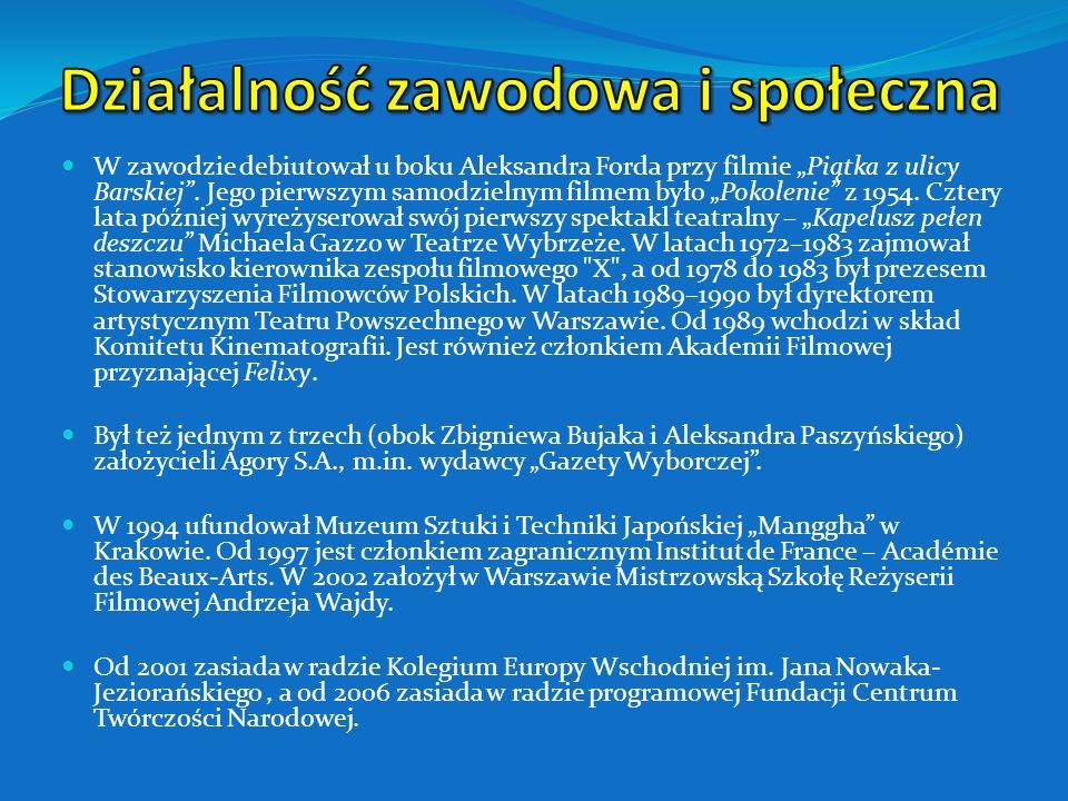 Panna Nikt (1996) Andrzej Wajda.Moje notatki z historii(1996) Pan Tadeusz (1999) Kredyt i debet.