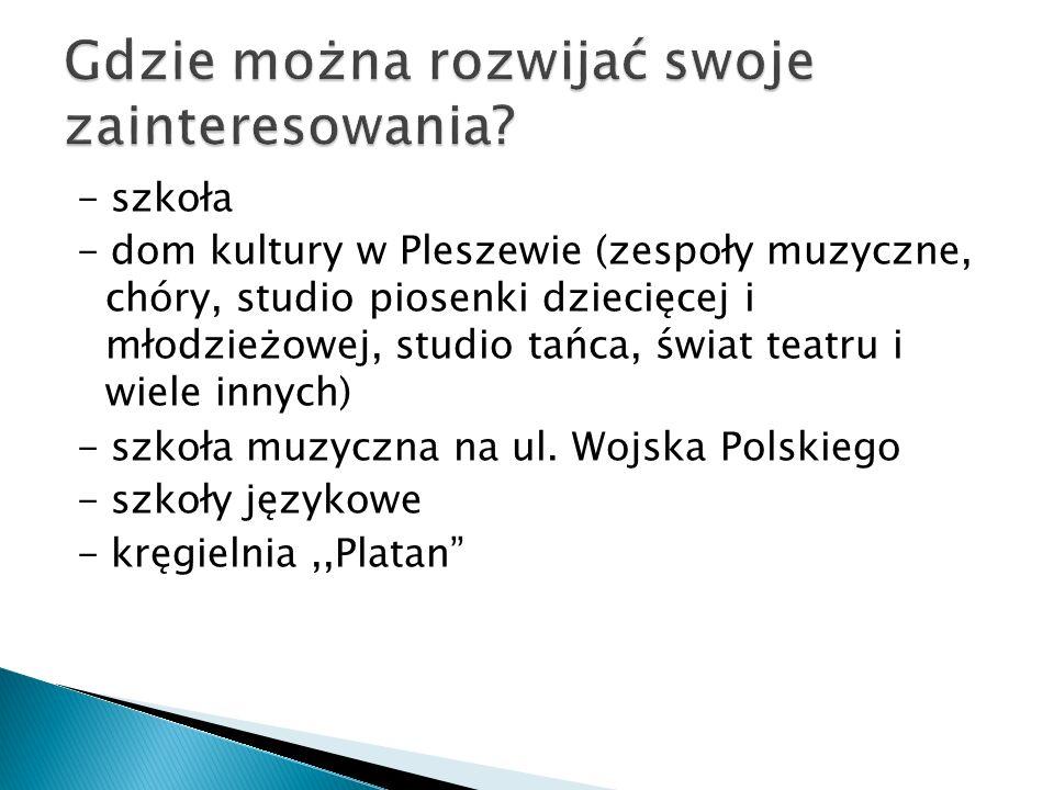 - szkoła - dom kultury w Pleszewie (zespoły muzyczne, chóry, studio piosenki dziecięcej i młodzieżowej, studio tańca, świat teatru i wiele innych) - s