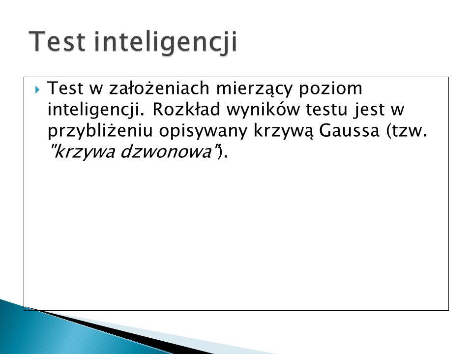 Test w założeniach mierzący poziom inteligencji. Rozkład wyników testu jest w przybliżeniu opisywany krzywą Gaussa (tzw.