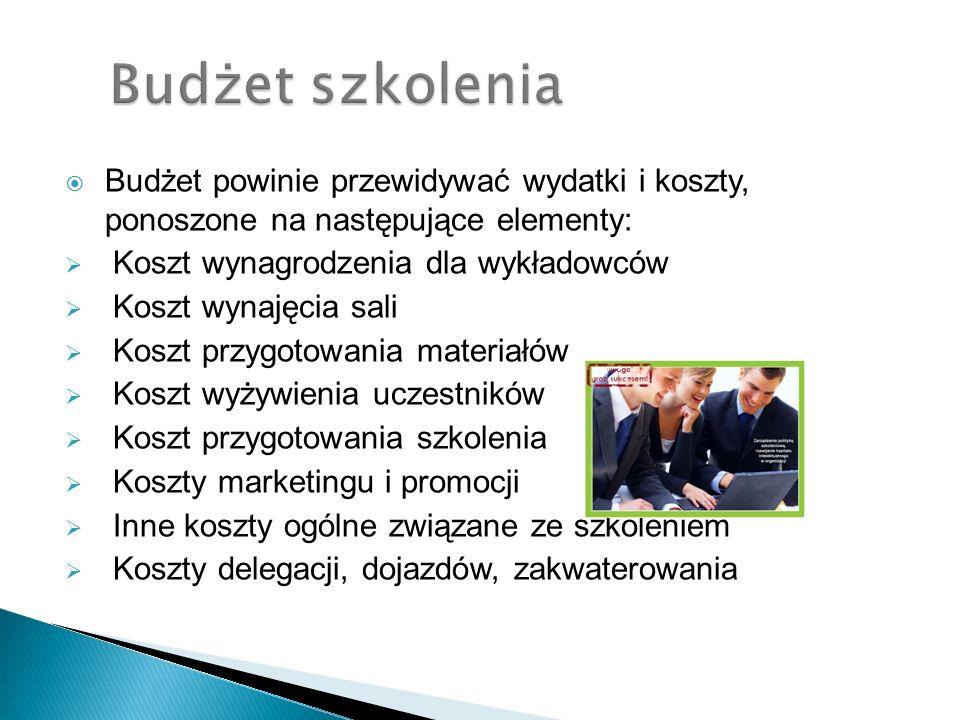 Budżet powinie przewidywać wydatki i koszty, ponoszone na następujące elementy: Koszt wynagrodzenia dla wykładowców Koszt wynajęcia sali Koszt przygot
