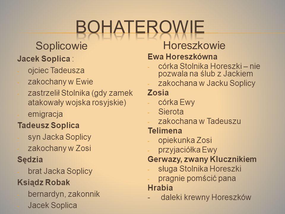 Soplicowie Jacek Soplica : - ojciec Tadeusza - zakochany w Ewie - zastrzelił Stolnika (gdy zamek atakowały wojska rosyjskie) - emigracja Tadeusz Soplica - syn Jacka Soplicy - zakochany w Zosi Sędzia - brat Jacka Soplicy Ksiądz Robak - bernardyn, zakonnik - Jacek Soplica Horeszkowie Ewa Horeszkówna - córka Stolnika Horeszki – nie pozwala na ślub z Jackiem - zakochana w Jacku Soplicy Zosia - córka Ewy - Sierota - zakochana w Tadeuszu Telimena - opiekunka Zosi - przyjaciółka Ewy Gerwazy, zwany Klucznikiem - sługa Stolnika Horeszki - pragnie pomścić pana Hrabia - daleki krewny Horeszków