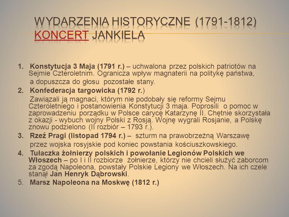 1.Konstytucja 3 Maja (1791 r.) – uchwalona przez polskich patriotów na Sejmie Czteroletnim.