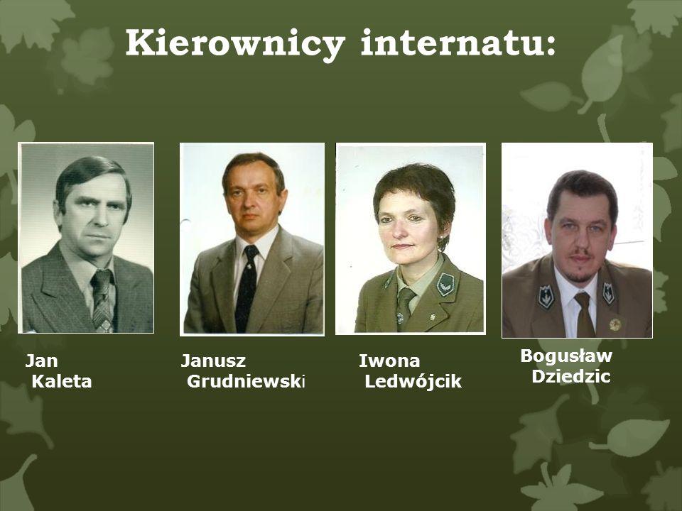 Kierownicy internatu: Jan Kaleta Janusz Grudniewski Iwona Ledwójcik Bogusław Dziedzic