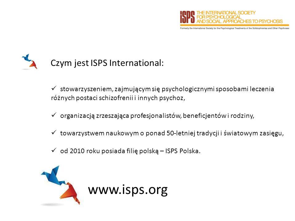 Czym jest ISPS International: stowarzyszeniem, zajmującym się psychologicznymi sposobami leczenia różnych postaci schizofrenii i innych psychoz, organizacją zrzeszająca profesjonalistów, beneficjentów i rodziny, towarzystwem naukowym o ponad 50-letniej tradycji i światowym zasięgu, od 2010 roku posiada filię polską – ISPS Polska.