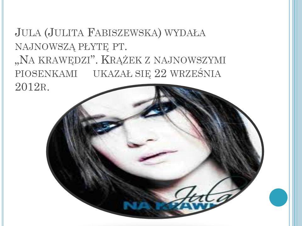 J ULA (J ULITA F ABISZEWSKA ) WYDAŁA NAJNOWSZĄ PŁYTĘ PT. N A KRAWĘDZI. K RĄŻEK Z NAJNOWSZYMI PIOSENKAMI UKAZAŁ SIĘ 22 WRZEŚNIA 2012 R.