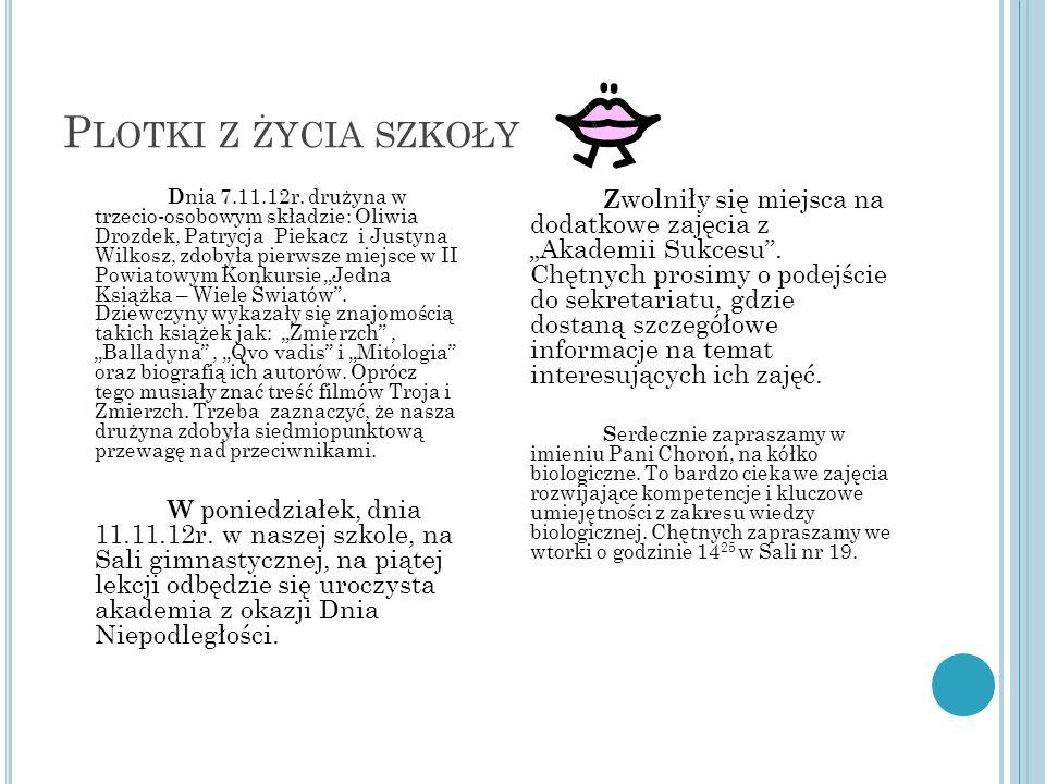 P LOTKI Z ŻYCIA SZKOŁY D nia 7.11.12r. drużyna w trzecio-osobowym składzie: Oliwia Drozdek, Patrycja Piekacz i Justyna Wilkosz, zdobyła pierwsze miejs