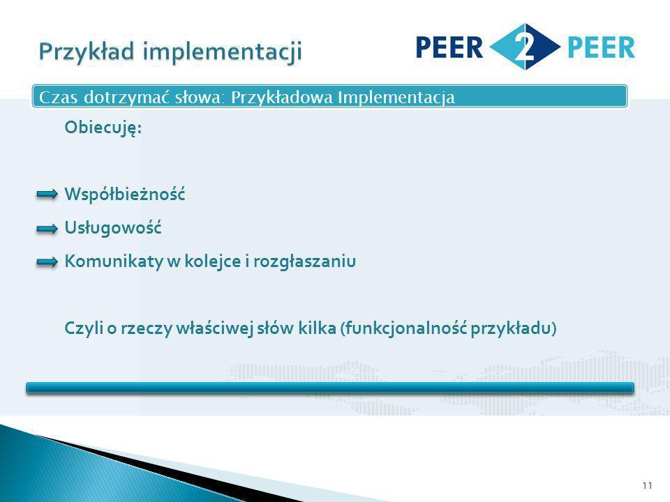 11 Czas dotrzymać słowa: Przykładowa Implementacja Obiecuję: Współbieżność Usługowość Komunikaty w kolejce i rozgłaszaniu Czyli o rzeczy właściwej słów kilka (funkcjonalność przykładu)
