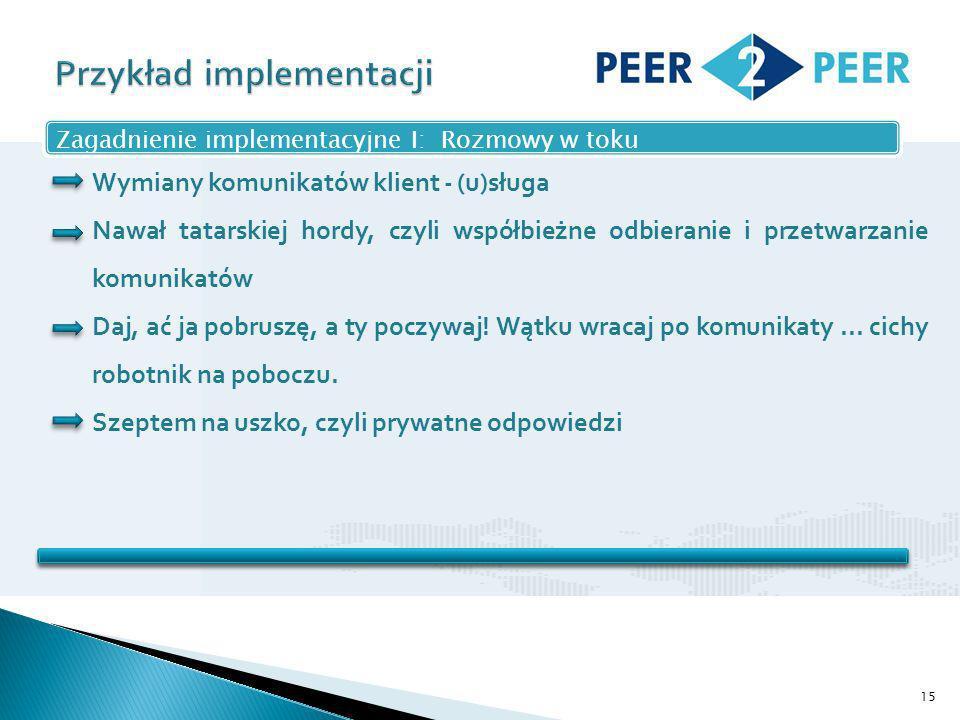 15 Zagadnienie implementacyjne I: Rozmowy w toku Wymiany komunikatów klient - (u)sługa Nawał tatarskiej hordy, czyli współbieżne odbieranie i przetwarzanie komunikatów Daj, ać ja pobruszę, a ty poczywaj.