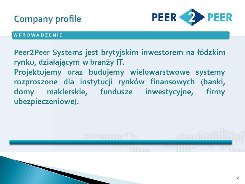 2 WPROWADZENIE Peer 2 Peer Systems jest brytyjskim inwestorem na łódzkim rynku, działającym w branży IT.