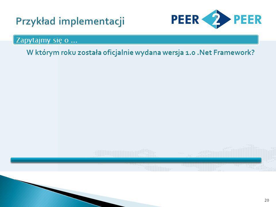 20 Zapytajmy się o... W którym roku została oficjalnie wydana wersja 1.0.Net Framework
