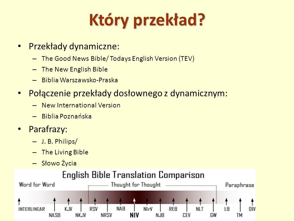 Który przekład? Przekłady dynamiczne: – The Good News Bible/ Todays English Version (TEV) – The New English Bible – Biblia Warszawsko-Praska Połączeni