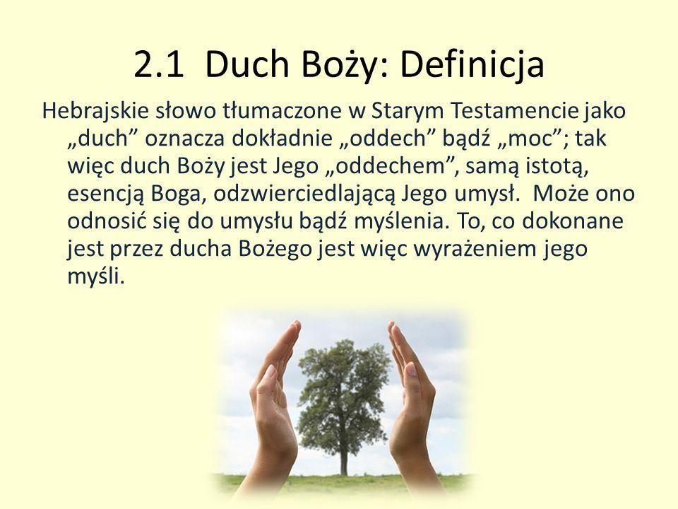 2.1 Duch Boży: Definicja Hebrajskie słowo tłumaczone w Starym Testamencie jako duch oznacza dokładnie oddech bądź moc; tak więc duch Boży jest Jego od