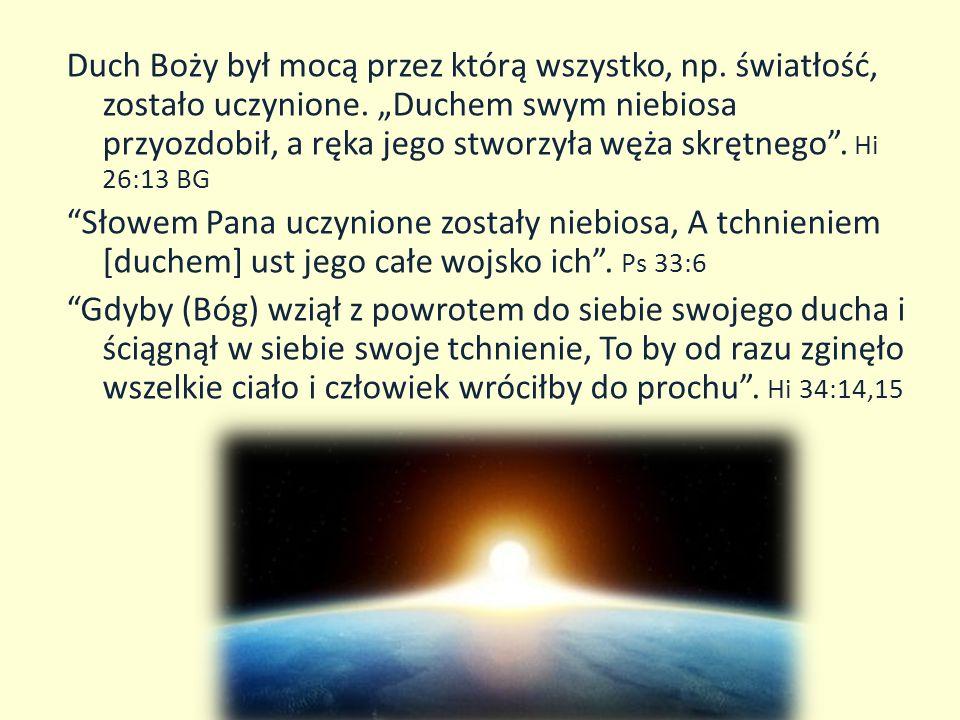 Duch Boży jest tym, dzięki czemu Bóg jest wszechobecny, chociaż osobiście znajduje się On w niebie.