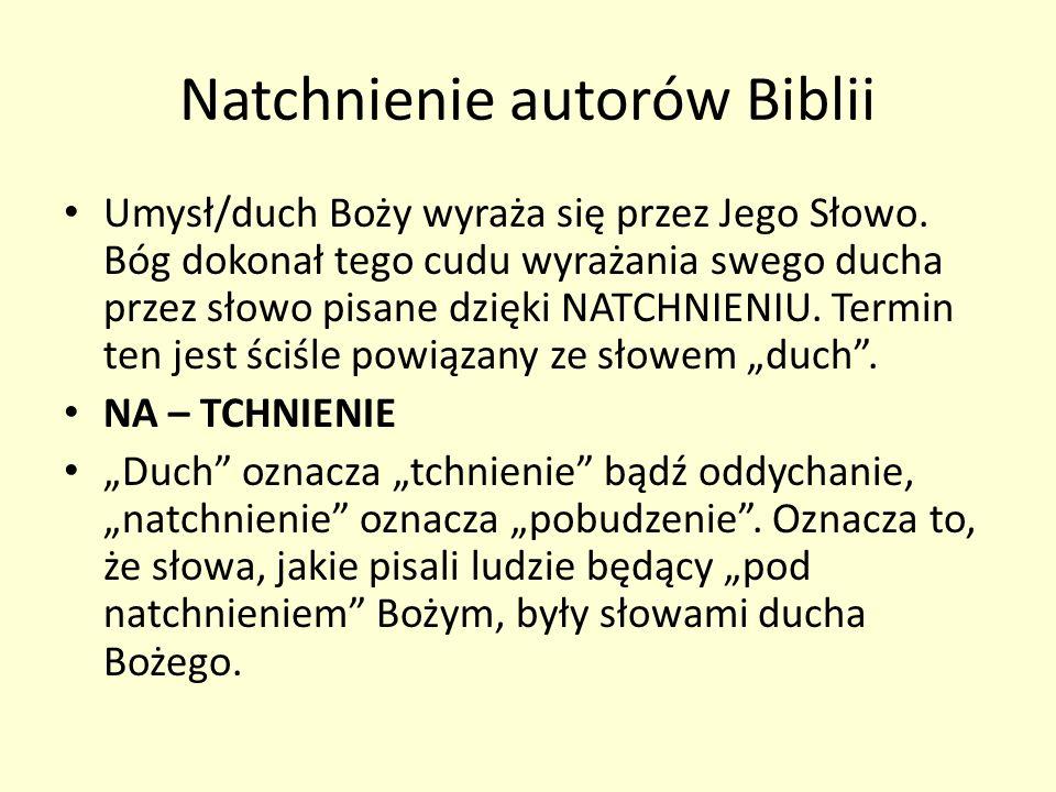 Natchnienie autorów Biblii Umysł/duch Boży wyraża się przez Jego Słowo. Bóg dokonał tego cudu wyrażania swego ducha przez słowo pisane dzięki NATCHNIE