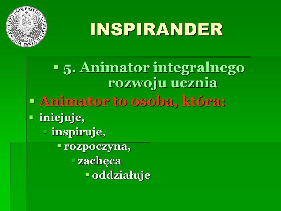 INSPIRANDER 5. Animator integralnego rozwoju ucznia 5. Animator integralnego rozwoju ucznia Animator to osoba, która: Animator to osoba, która: inicju
