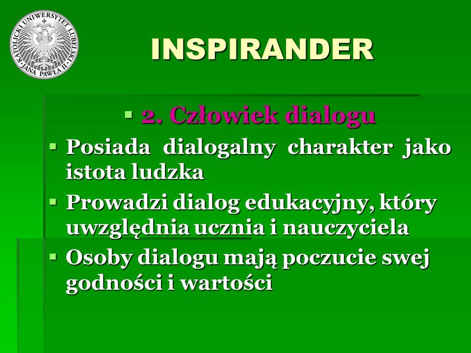 INSPIRANDER 2. Człowiek dialogu 2. Człowiek dialogu Posiada dialogalny charakter jako istota ludzka Posiada dialogalny charakter jako istota ludzka Pr