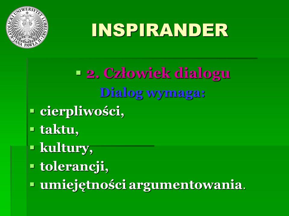 INSPIRANDER 2. Człowiek dialogu 2. Człowiek dialogu Dialog wymaga: cierpliwości, cierpliwości, taktu, taktu, kultury, kultury, tolerancji, tolerancji,