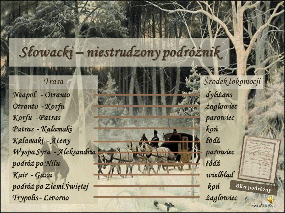 Słowacki – niestrudzony podróżnik Trasa Neapol - Otranto Otranto - Korfu Korfu - Patras Patras - Kalamaki Kalamaki - Ateny Wyspa Syra - Aleksandria po