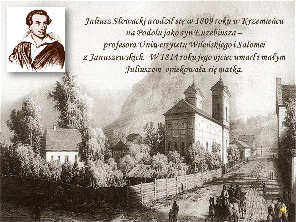 Juliusz Słowacki urodził się w 1809 roku w Krzemieńcu na Podolu jako syn Euzebiusza – profesora Uniwersytetu Wileńskiego i Salomei z Januszewskich. W
