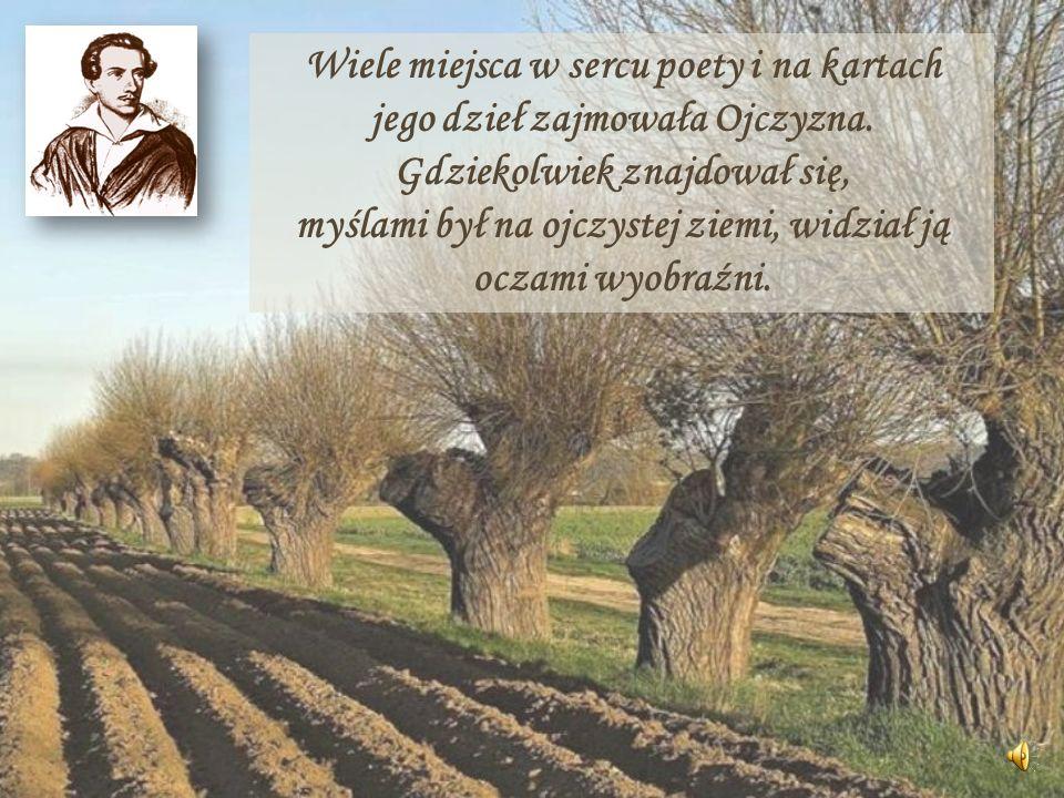 Wiele miejsca w sercu poety i na kartach jego dzieł zajmowała Ojczyzna. Gdziekolwiek znajdował się, myślami był na ojczystej ziemi, widział ją oczami