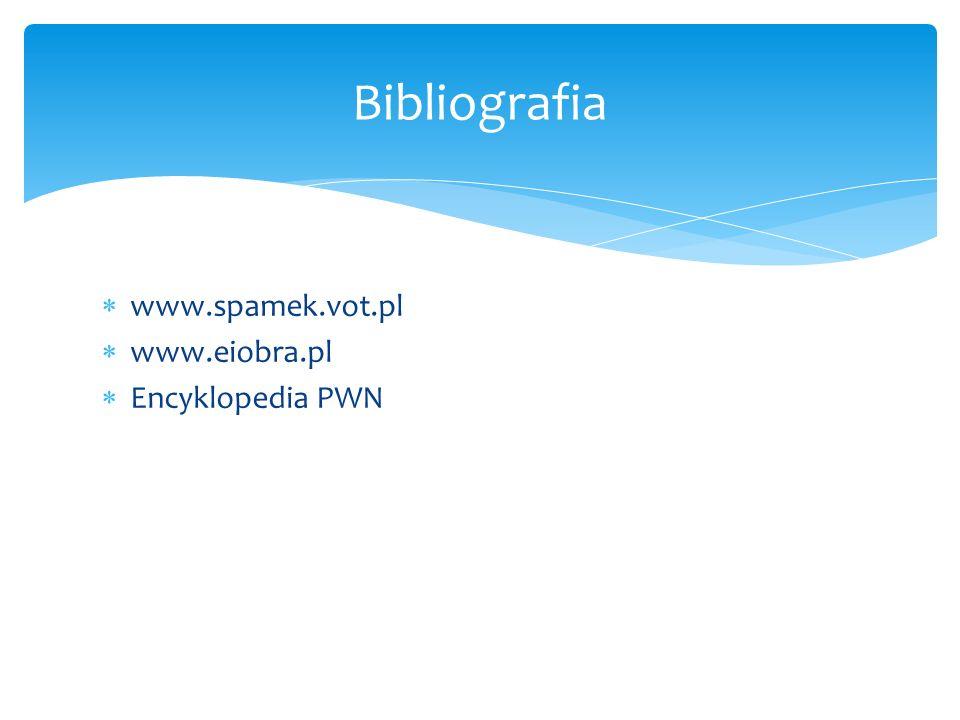 www.spamek.vot.pl www.eiobra.pl Encyklopedia PWN Bibliografia