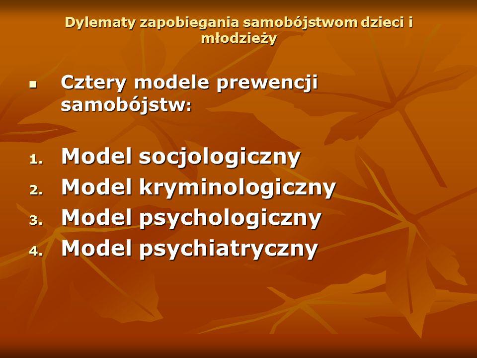 Dylematy zapobiegania samobójstwom dzieci i młodzieży Cztery modele prewencji samobójstw : Cztery modele prewencji samobójstw : 1. Model socjologiczny