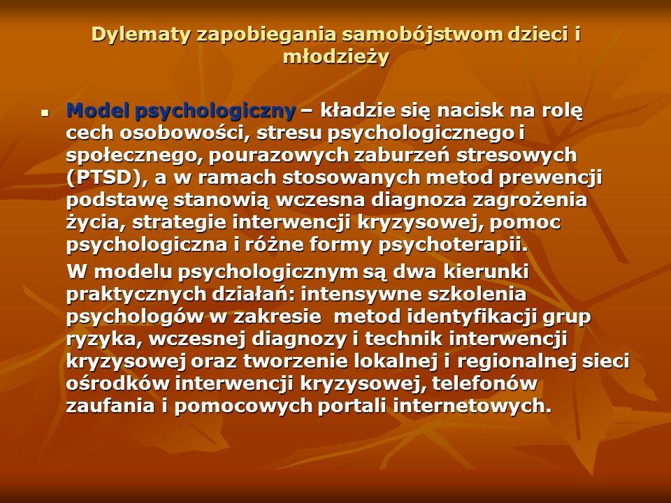 Dylematy zapobiegania samobójstwom dzieci i młodzieży Model psychologiczny – kładzie się nacisk na rolę cech osobowości, stresu psychologicznego i spo