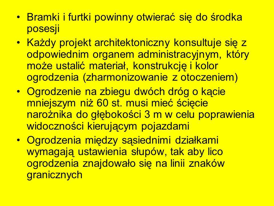 Bramki i furtki powinny otwierać się do środka posesji Każdy projekt architektoniczny konsultuje się z odpowiednim organem administracyjnym, który moż