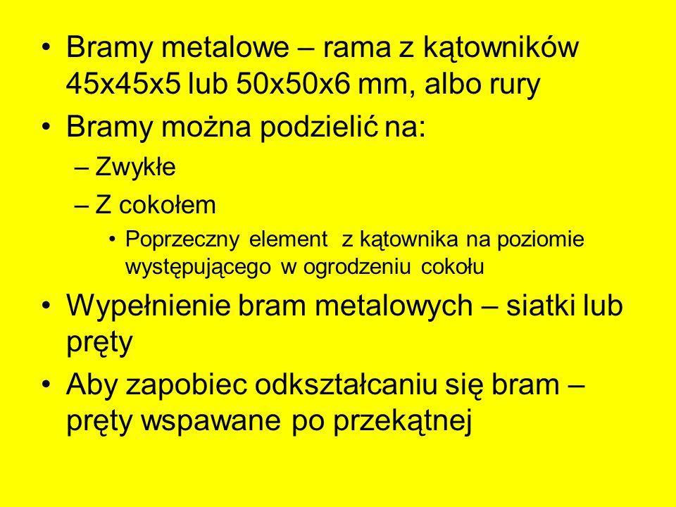 Bramy metalowe – rama z kątowników 45x45x5 lub 50x50x6 mm, albo rury Bramy można podzielić na: –Zwykłe –Z cokołem Poprzeczny element z kątownika na po