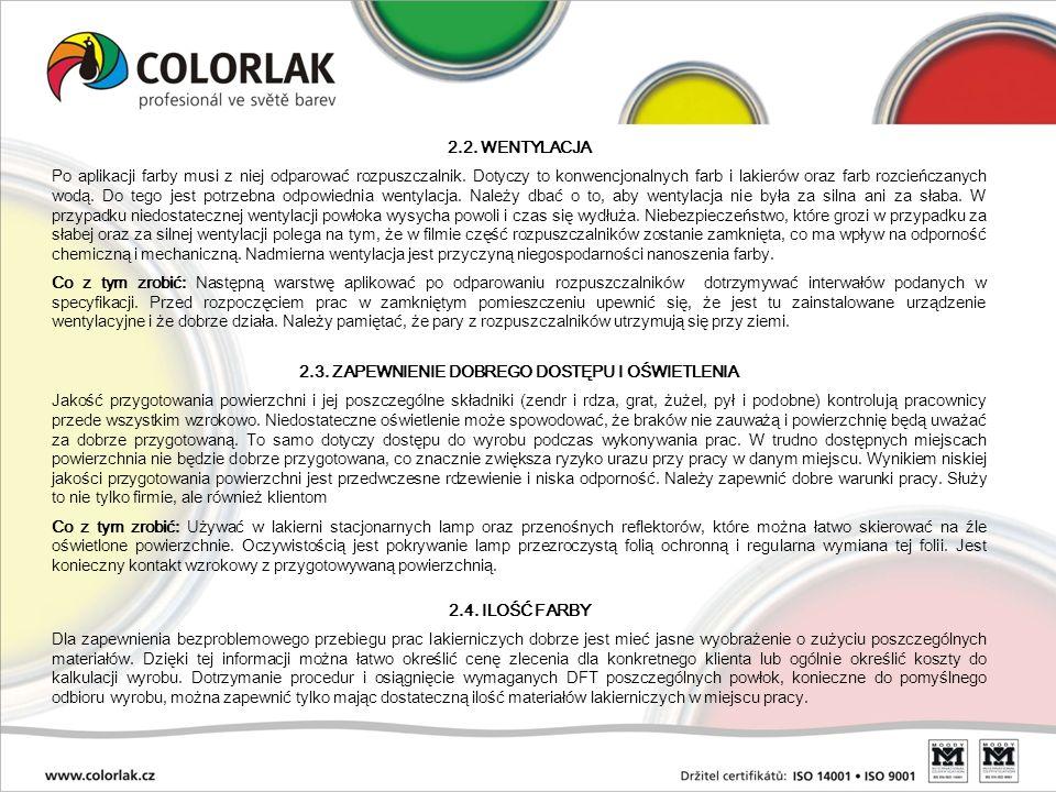 2.2. WENTYLACJA Po aplikacji farby musi z niej odparować rozpuszczalnik. Dotyczy to konwencjonalnych farb i lakierów oraz farb rozcieńczanych wodą. Do