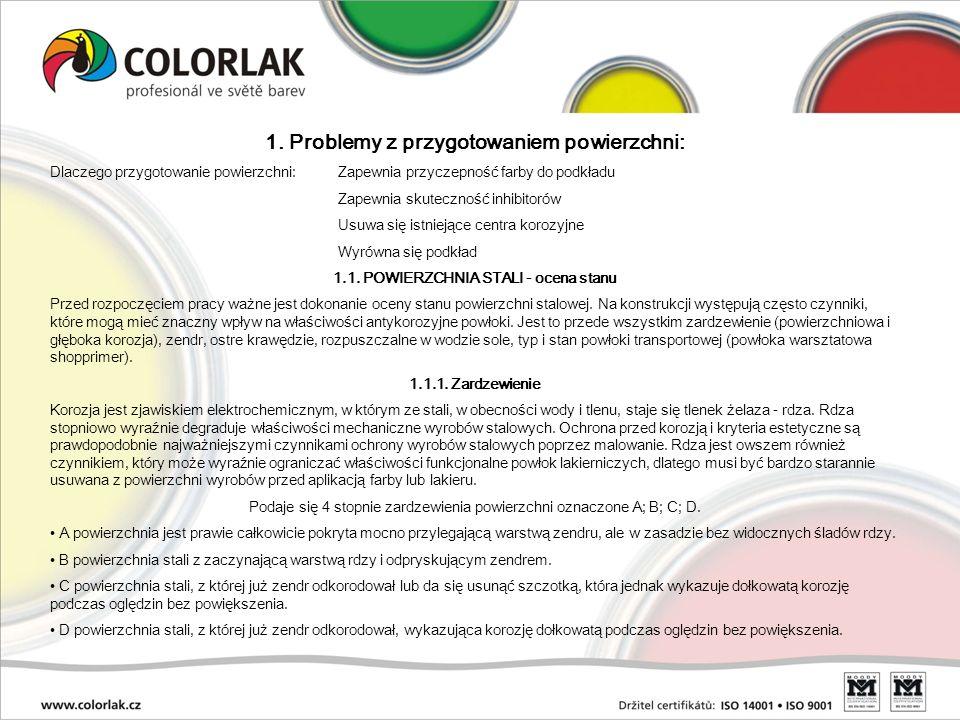 Stan skorodowanej powierzchni i jakość jej oczyszczenia (norma ČSN ISO 8501-1) - Stopień korozji B Pierwotny stan Ręczne czyszczenia St3 Piaskowanie Sa2,5