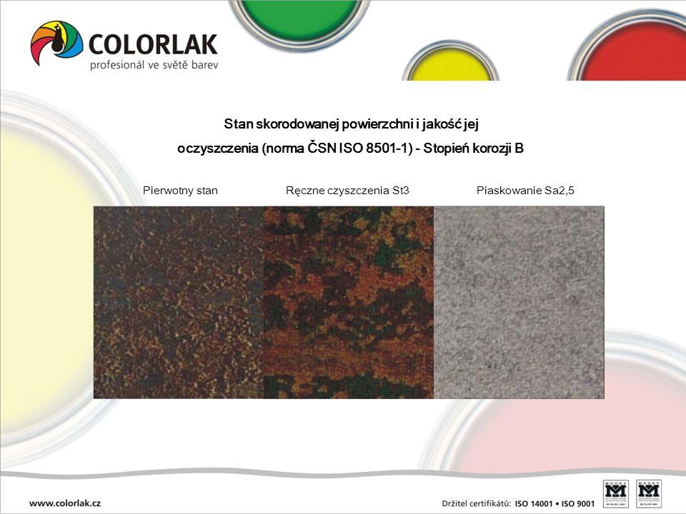 Stan skorodowanej powierzchni i jakość jej oczyszczenia (norma ČSN ISO 8501-1) Stopień korozji D Pierwotny stan Ręczne czyszczenia St3 Piaskowanie Sa2,5 Stopnie zardzewienia łącznie z dokumentacją fotograficzną szczegółowo opisuje normy ISO 8501-1.