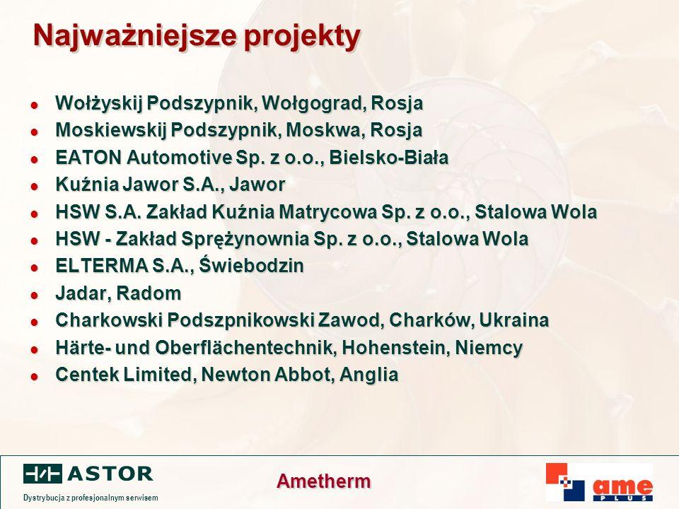 Dystrybucja z profesjonalnym serwisem Ametherm Najważniejsze projekty Wołżyskij Podszypnik, Wołgograd, Rosja Moskiewskij Podszypnik, Moskwa, Rosja EATON Automotive Sp.