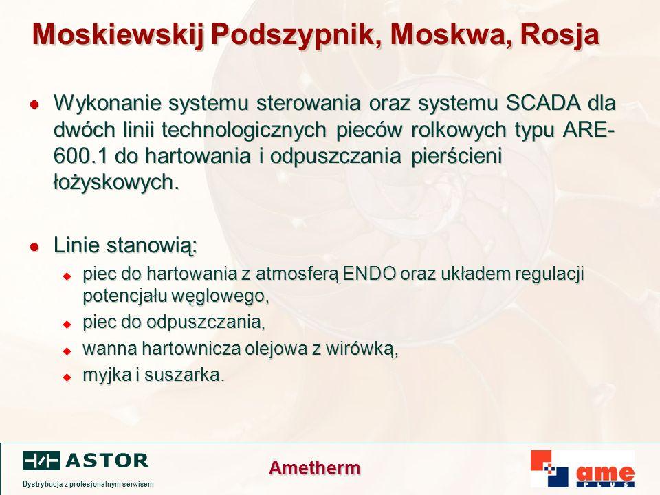 Dystrybucja z profesjonalnym serwisem Ametherm Moskiewskij Podszypnik, Moskwa, Rosja Wykonanie systemu sterowania oraz systemu SCADA dla dwóch linii technologicznych pieców rolkowych typu ARE- 600.1 do hartowania i odpuszczania pierścieni łożyskowych.