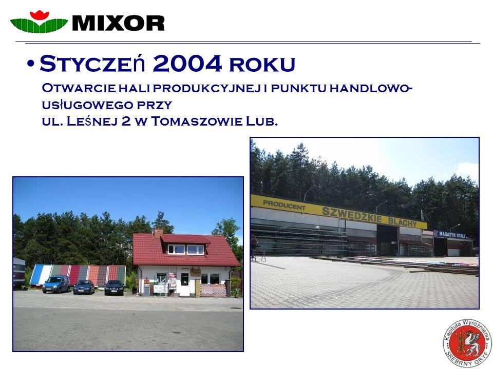Stycze ń 2004 roku Otwarcie hali produkcyjnej i punktu handlowo- us ł ugowego przy ul.
