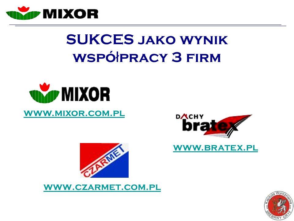SUKCES jako wynik wspó ł pracy 3 firm www.czarmet.com.pl www.mixor.com.pl www.bratex.pl