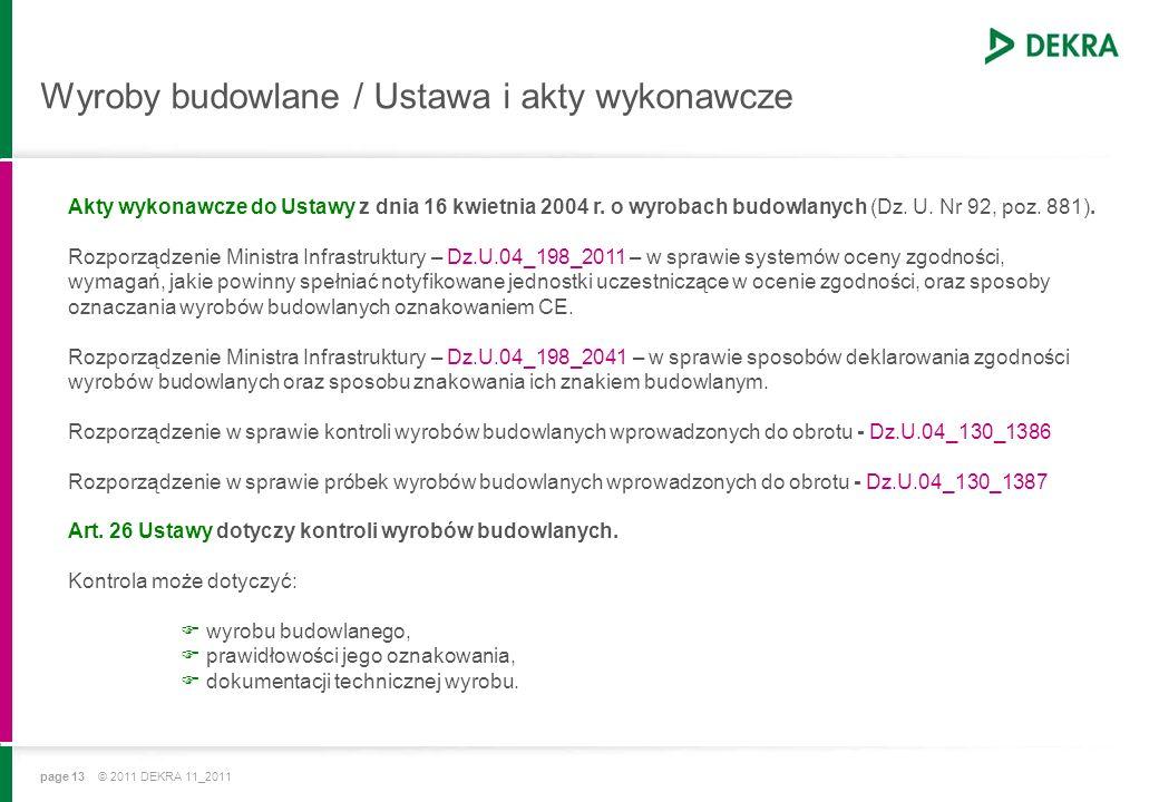 page 13 © 2011 DEKRA 11_2011 Wyroby budowlane / Ustawa i akty wykonawcze Akty wykonawcze do Ustawy z dnia 16 kwietnia 2004 r.