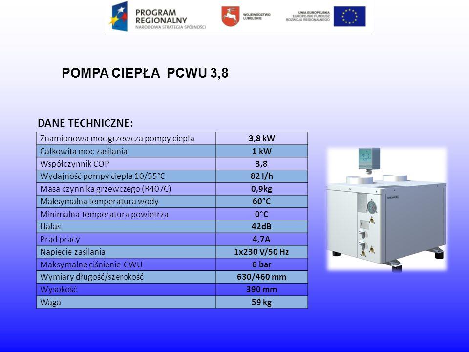 DANE TECHNICZNE: POMPA CIEPŁA PCWU 3,8 Znamionowa moc grzewcza pompy ciepła3,8 kW Całkowita moc zasilania1 kW Współczynnik COP3,8 Wydajność pompy ciep