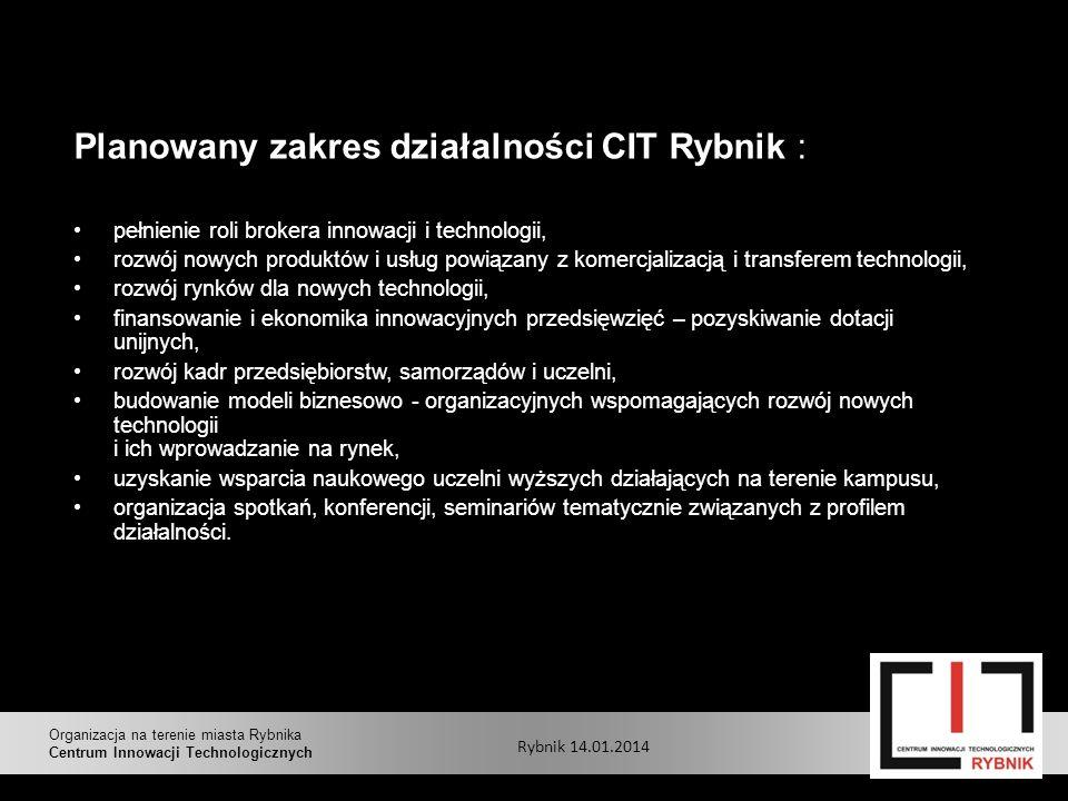 Planowany zakres działalności CIT Rybnik : pełnienie roli brokera innowacji i technologii, rozwój nowych produktów i usług powiązany z komercjalizacją